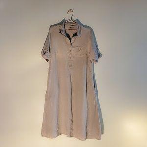 Flax Dresses - Flax   Button Down Khaki Lagenlook Linen Dress